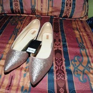 Forever 21 Rose Gold Glitter Flats 10